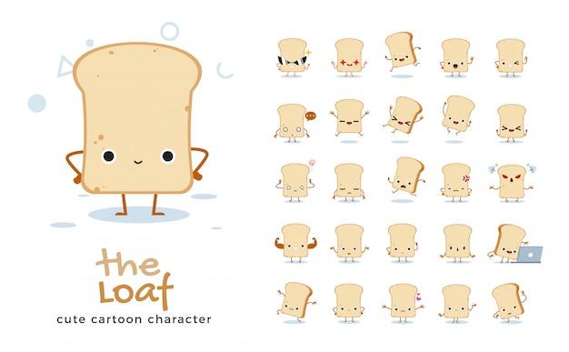 Set of cartoon  of bread loaf.  illustration.
