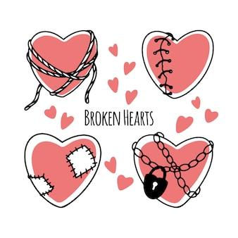 Set of cartoon broken hearts