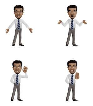 Set of cartoon businessman with different gesture