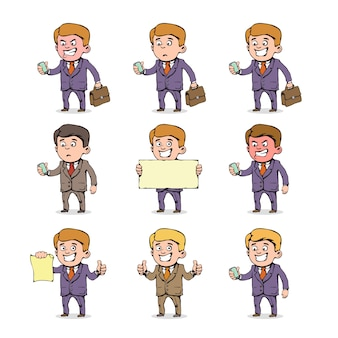 Set of cartoon businessman