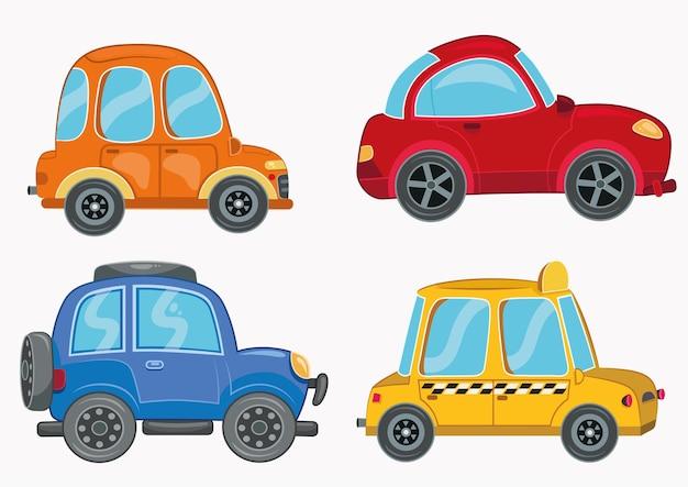 A set of cartoon car vector illustrations