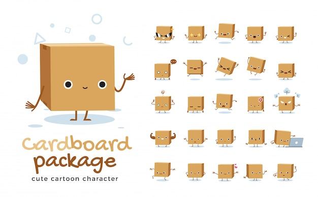 Set of cartoon  of cardboard box.  illustration.