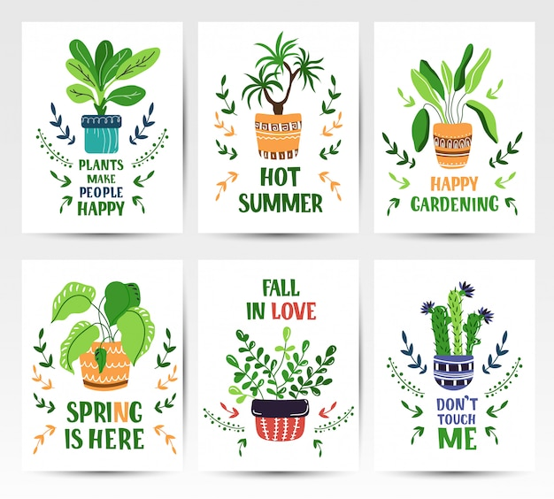 Set of cartoon cards with home potted plants or flowers