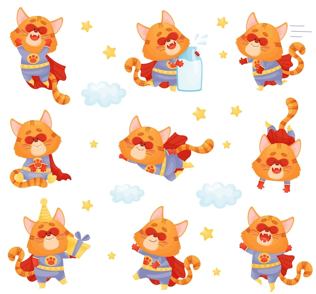 Set of cartoon cat superhero in different poses and situations