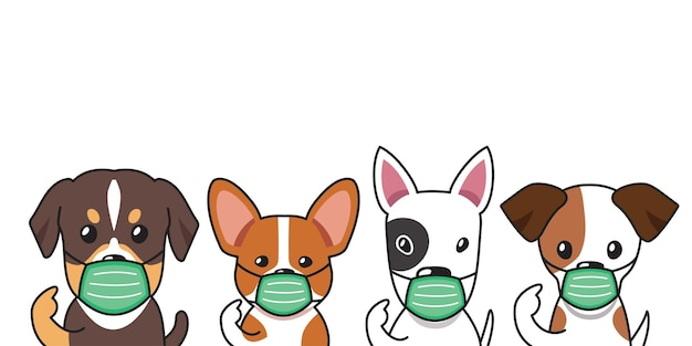 Set of cartoon character cute dogs wearing protective face masks