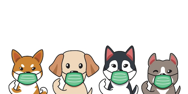 Set of cartoon character dogs wearing protective face masks