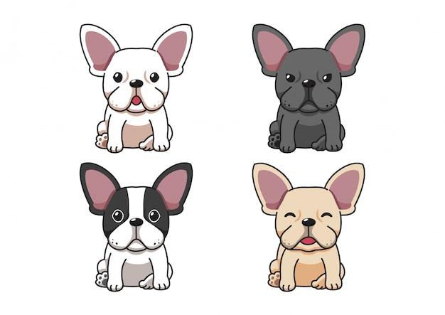 Set of cartoon character french bulldog dog
