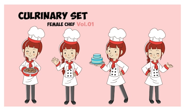 Set of cartoon character illustration culrinary, female chef,chefs cooking.professional chef set.