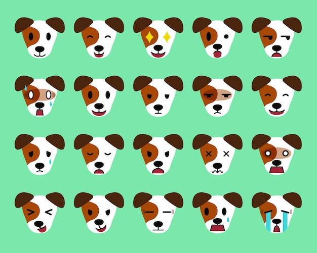 Set of cartoon character jack russell terrier dog faces showing different emotions