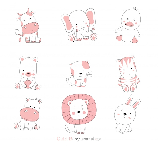 Set cartoon character the lovely baby animals on white background. . hand drawn style.