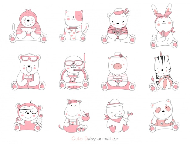Set cartoon character the lovely baby animals on white background. hand-drawn style.