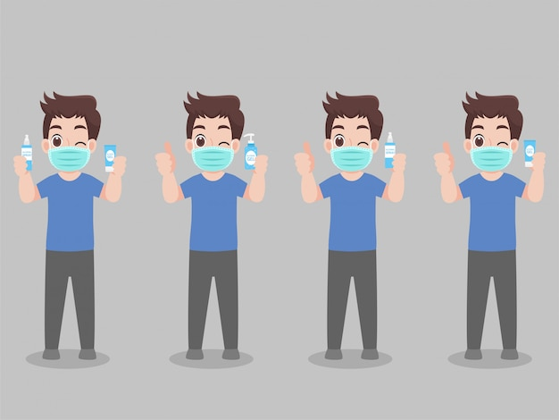 Set of cartoon character man wear face mask show and clean her hands by use alcohol gel  for prevent virus