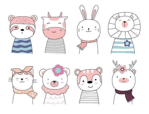 만화 캐릭터를 사랑스러운 아기 동물로 설정하십시오. 손으로 그린 된 스타일.