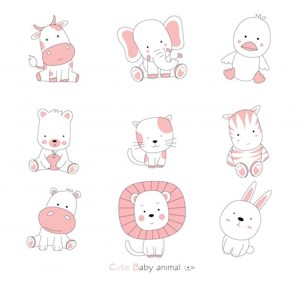 白い背景の漫画のキャラクターの素敵な赤ちゃん動物を設定します。手描きスタイル。