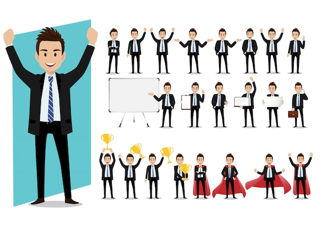 Set of cartoon characters of a businessman in a suit in various poses vector