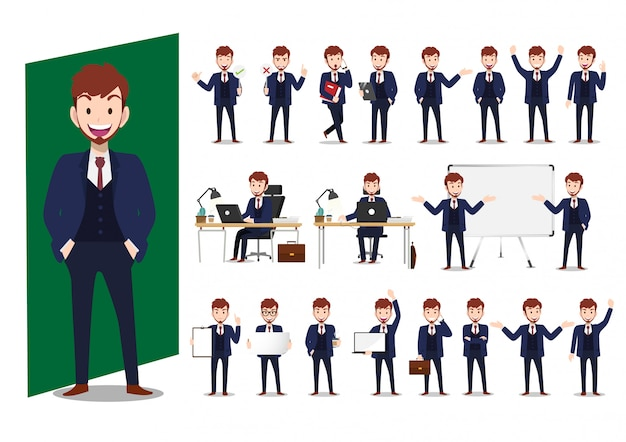 Set of cartoon characters of businessman vector