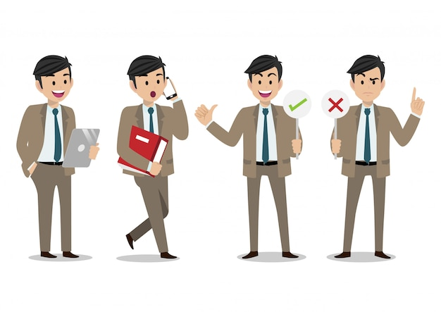 Set of cartoon characters of a businessman