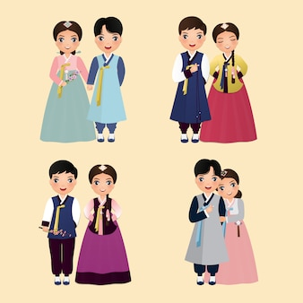 Set of cartoon characters cute couple in traditional hanbok dress of south korea bride and groom.wedding invitations card.