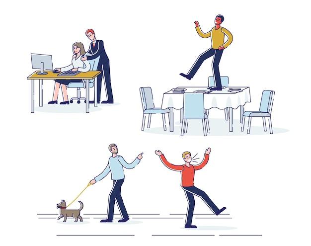 Set of cartoon characters demonstrating bad behavior