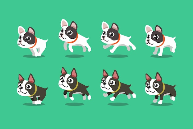 Set of cartoon characters french bulldog and boston terrier dogs running