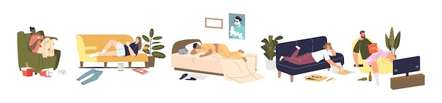 Set of cartoon characters relaxing during weekend at home sleeping, surfing internet and watching tv. lazy weekend recreation concept. people having rest. flat vector illustration