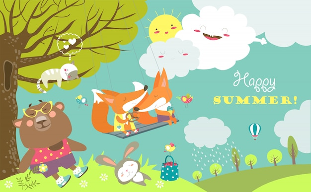 Set of cartoon characters and summer elements