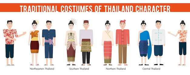 Set of cartoon characters in traditional costume of thailand.