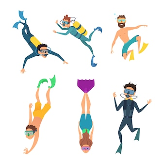 Set of cartoon characters. underwater divers