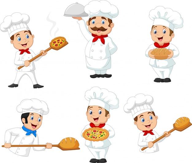 Set of cartoon chef on white background
