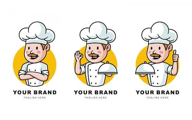 Set of cartoon chef with mustache logo illustration for restaurant