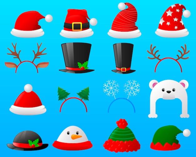 Set of cartoon christmas different carnivals caps