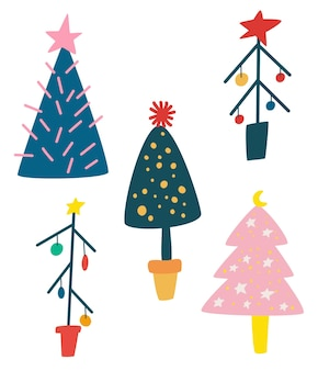 Set of cartoon christmas trees. winter forest. new year decor. holidays party green fir with garland decoration. decorated xmas trees. flat vector collection for holiday design.