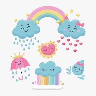 Set of cartoon chuva de amor decoration elements