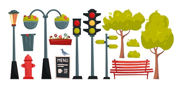 Set cartoon city and park elements. town constructor.