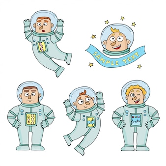 Set of cartoon color astronauts isolated on white.