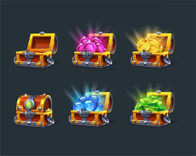 Set of cartoon colorful treasure chest empty closed
