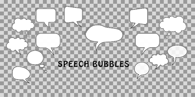 Set of cartoon comic dialog speech bubbles isolated transparent