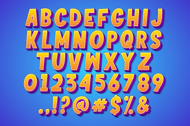 Set of cartoon comic font