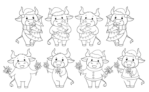 Set of cartoon cow wearing christmas costume and holding tree and sparkles.