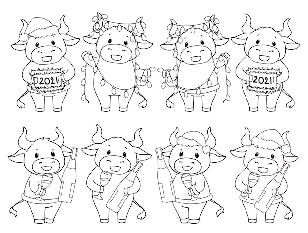 Set of cartoon cows wearing christmas costume and holding champagne and garland