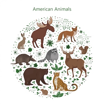 Set of cartoon cute american animals with leaves flowers and spots in a circle. raccoon, fox, jaguar, squirrel, elk bear armadillo hare deer vole