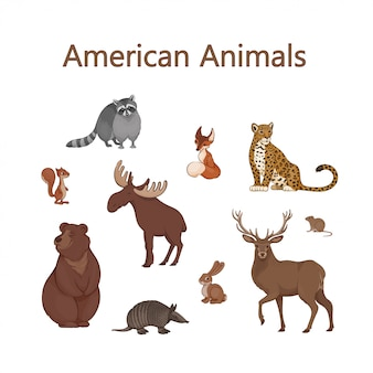 Set of cartoon cute american animals.