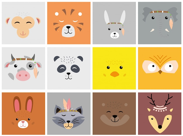 Set of cartoon cute animal faces.  lion, bunny, cat, dog, elephant, bear, fox, monkey, deer.