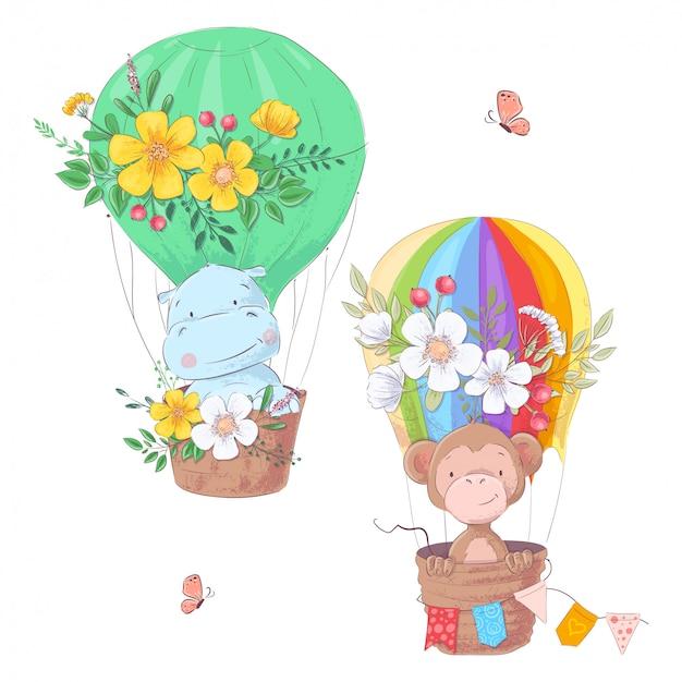 Set of cartoon cute animals hippo and monkey balloon children clipart.