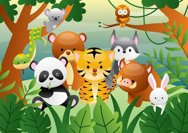 Set of cartoon cute animals in the jungle
