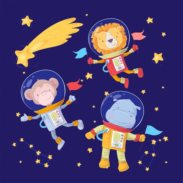 Set of cartoon cute animals monkey lion and hippo astronauts in space with stars and a comet