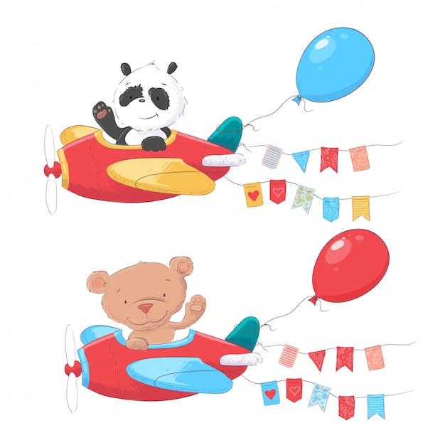 Set of cartoon cute animals panda and bear on airplanes kids clipart.