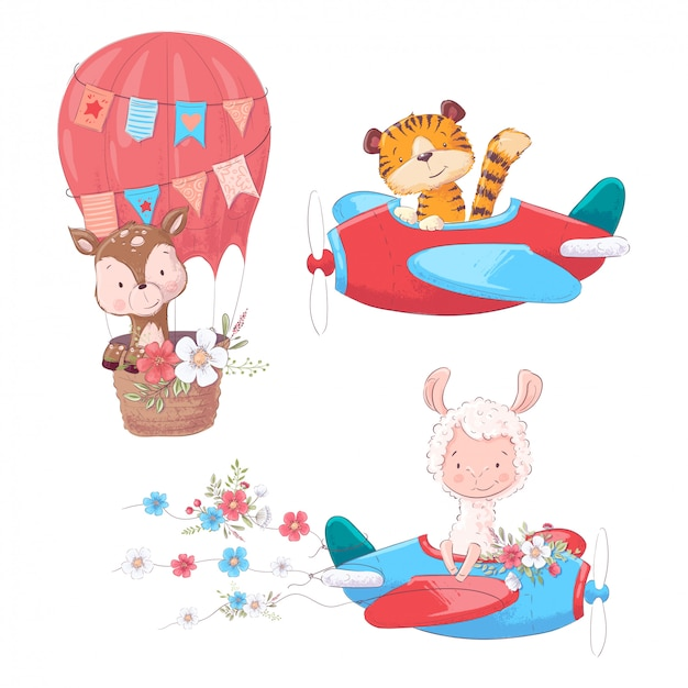 Set cartoon cute animals tiger deer and llama on an airplane and balloon kids clipart.