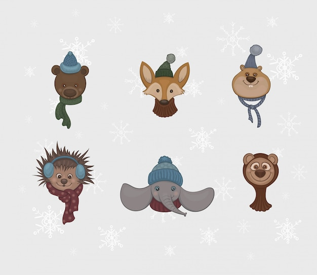 Set of cartoon cute animals in warm scarfs and caps