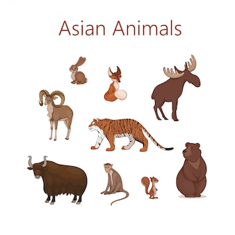 Set of cartoon cute asian animals. hare, fox, squirrel, elk bear urial tiger yak macaque